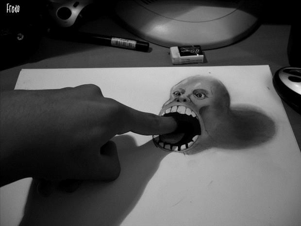Drawn 3d art finger #5