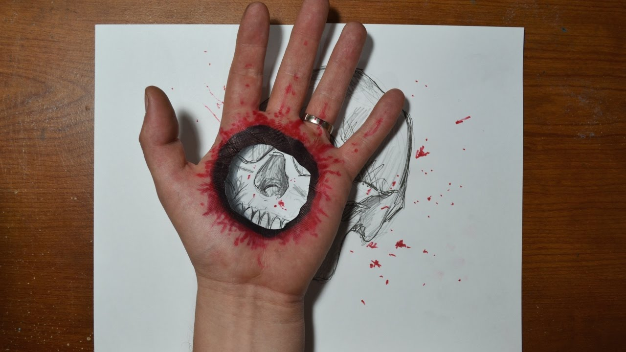 Drawn 3d art finger #6