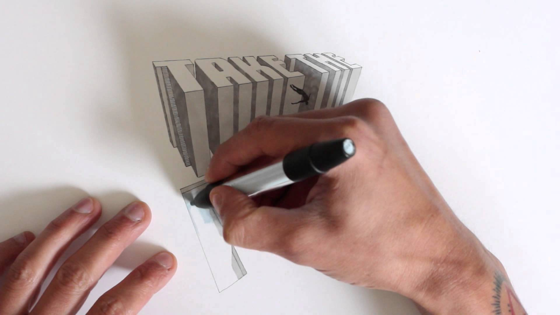 Drawn 3d art finger #4