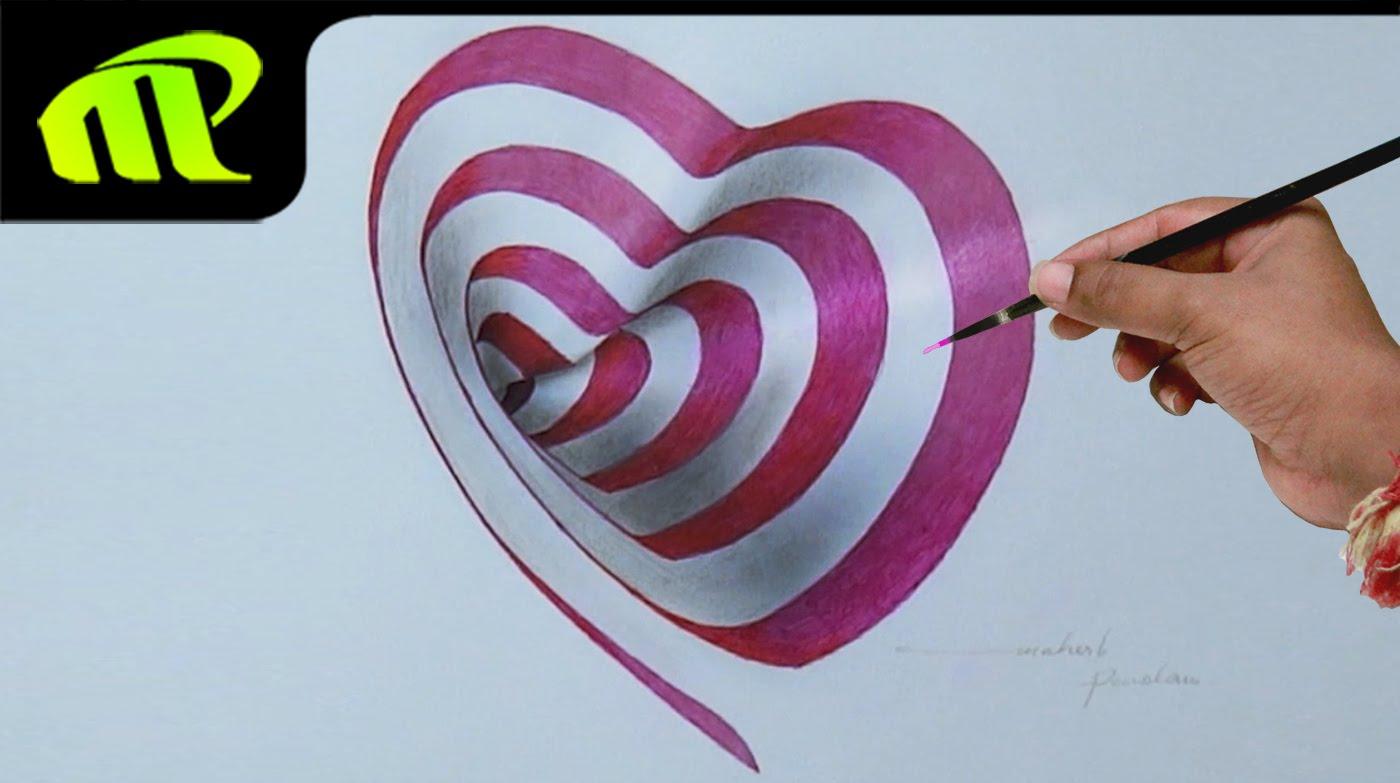 Drawn 3d art heart YouTube 3D Pendam Drawing Heart