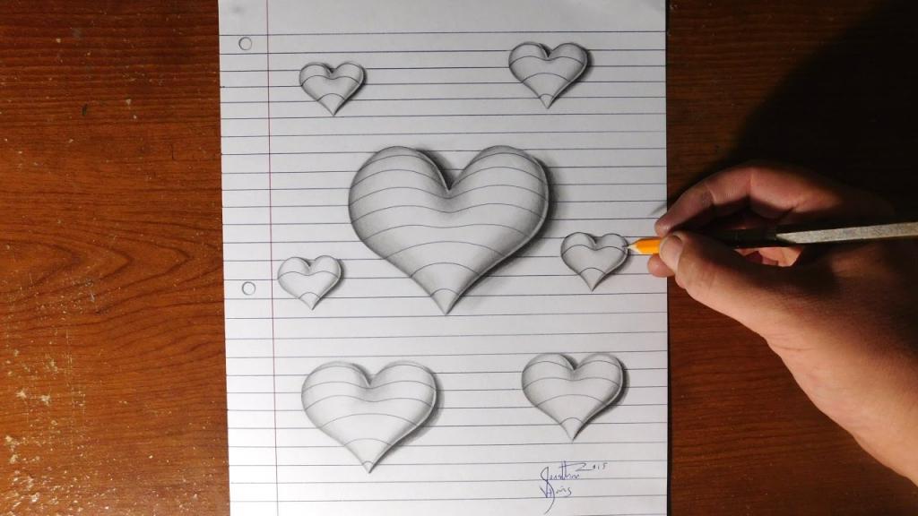 Drawn 3d art heart Art Valentine's Craft Hand Line