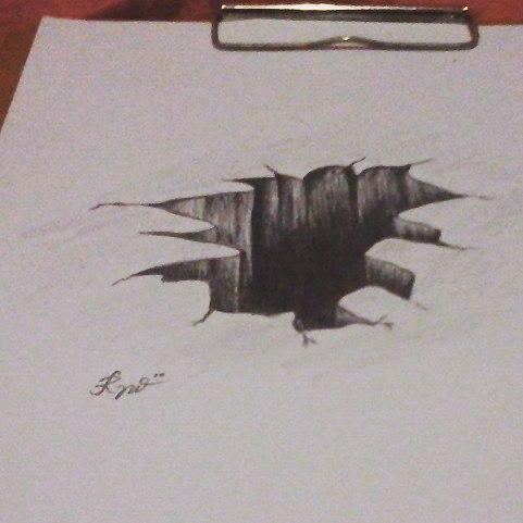 Drawn 3d art hole #13