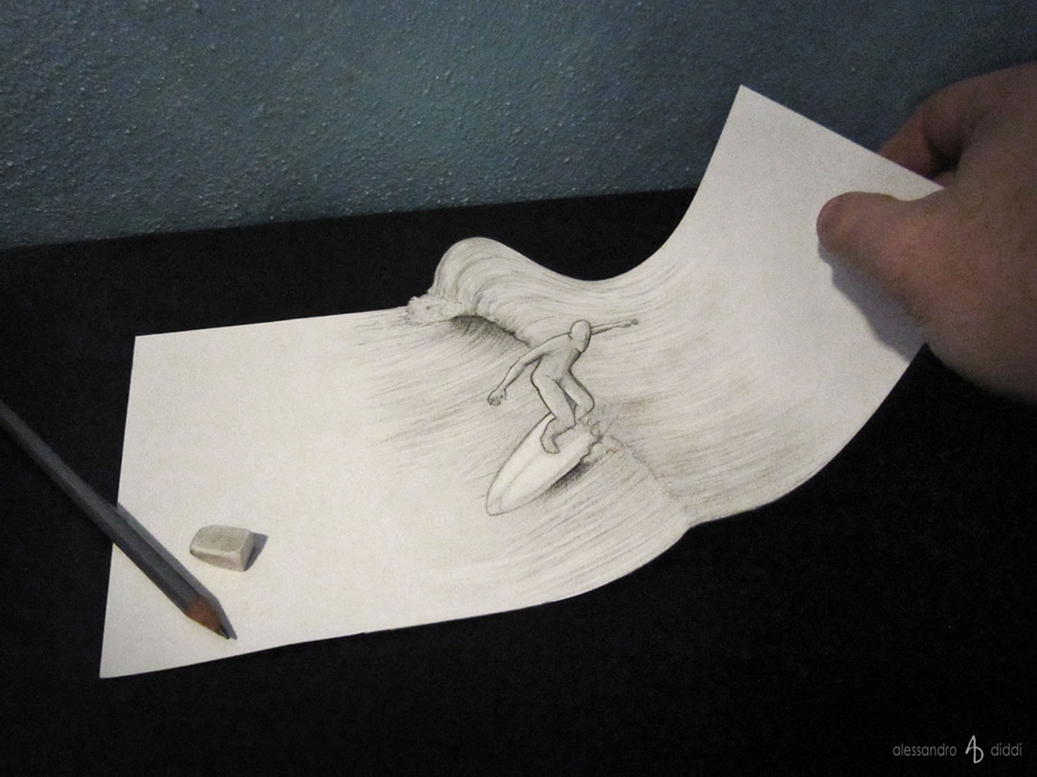 Drawn 3d art illusion Alessandro Illusion diddi 3D by