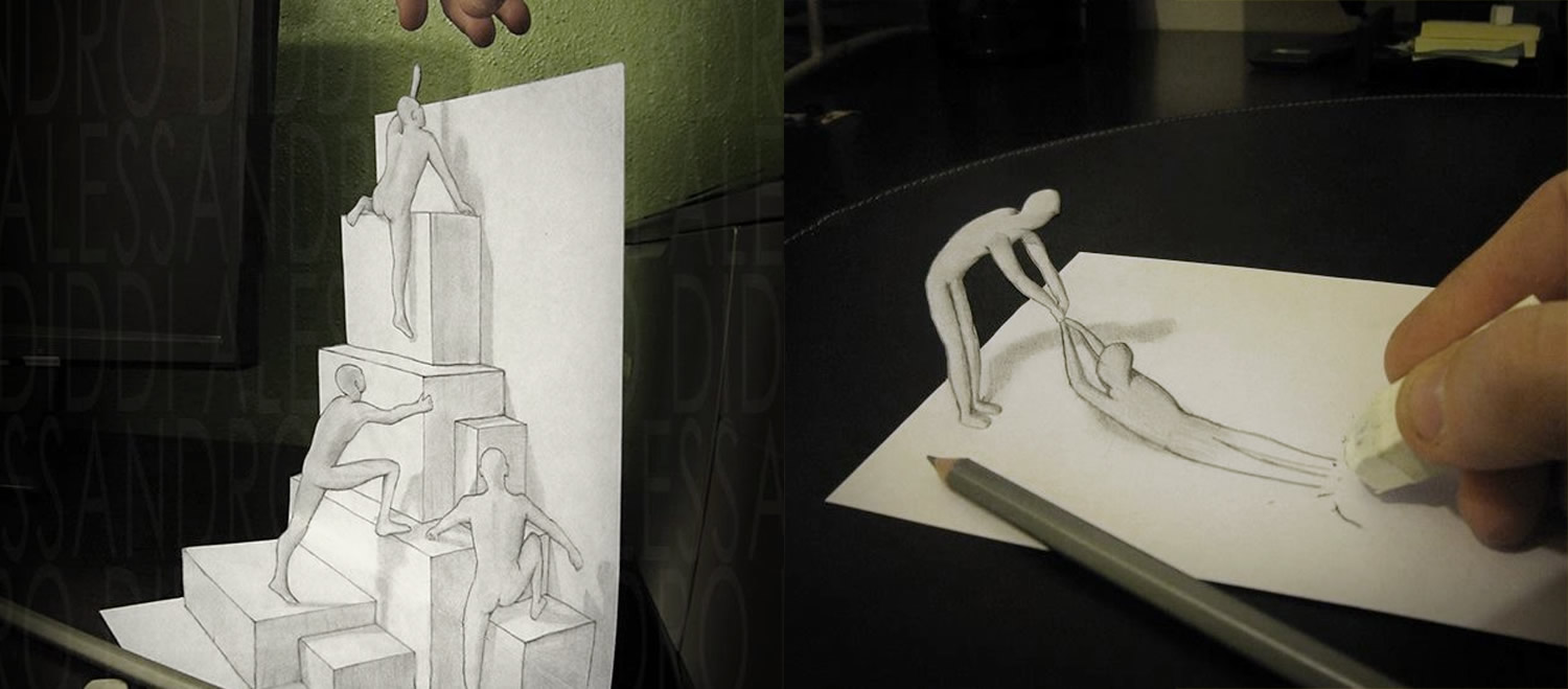 Drawn 3d art illusion Diddi a Alessandro out by
