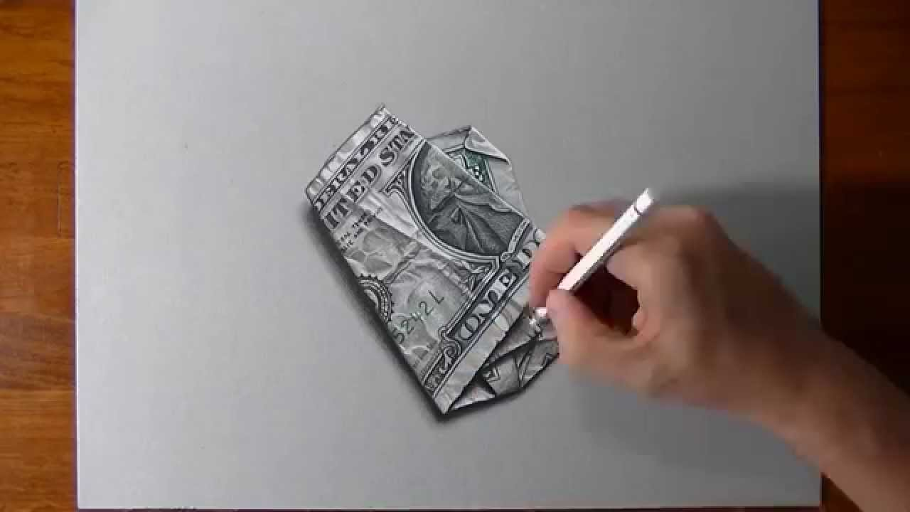 Drawn 3d art illusion 3D DOLLAR hand Design illusion
