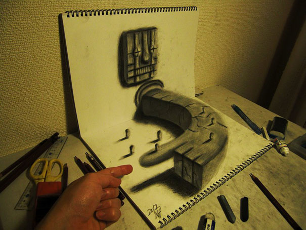 Drawn 3d art incredible 3D sketchbook【2】 Pencil Panda 3D