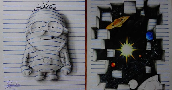 Drawn 3d art incredible Paper On a detailed Desenhos)