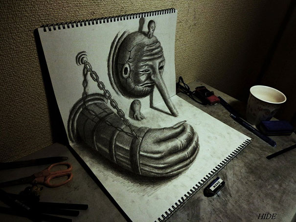 Drawn 3d art incredible #14