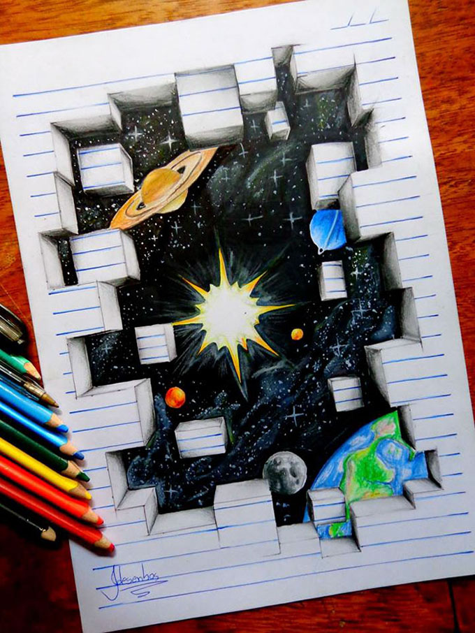 Drawn 3d art incredible #7