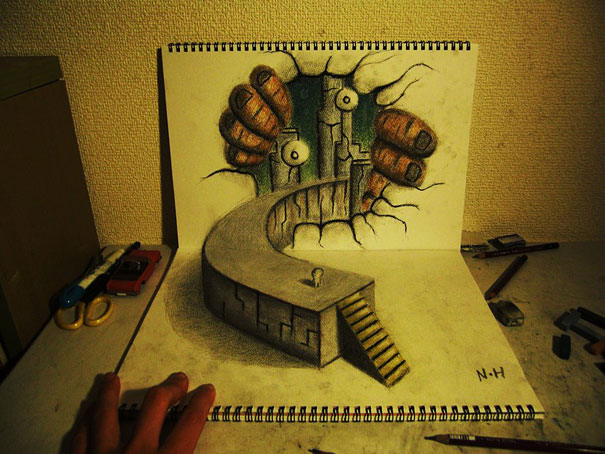 Drawn 3d art incredible Hideyuki by Bored by 3D