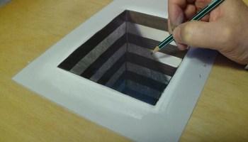 Drawn 3d art paper for kid Anamorphic Illusion Art Draw Hole