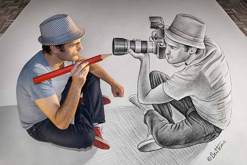 Drawn 3d art perspective  like of World What