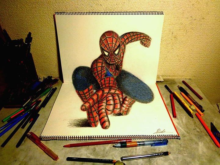 Drawn 3d art perspective Artwork Spiderman sketchbook gaming nintendo