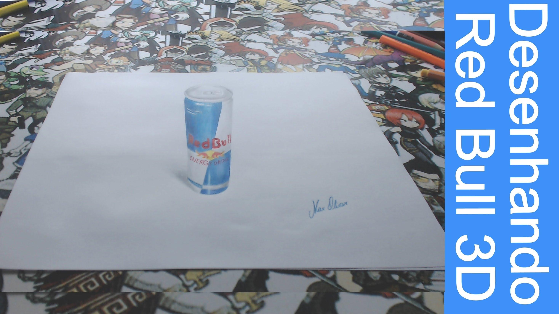 Drawn 3d art red bull #13