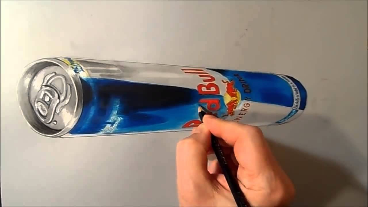 Drawn 3d art red bull Drawing Red 3D 3D Can