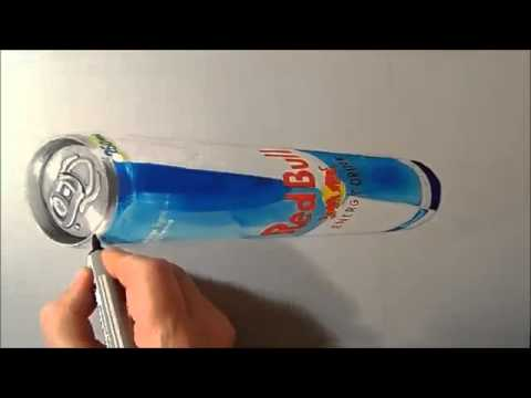 Drawn 3d art red bull Levitating Can Red Can Fine