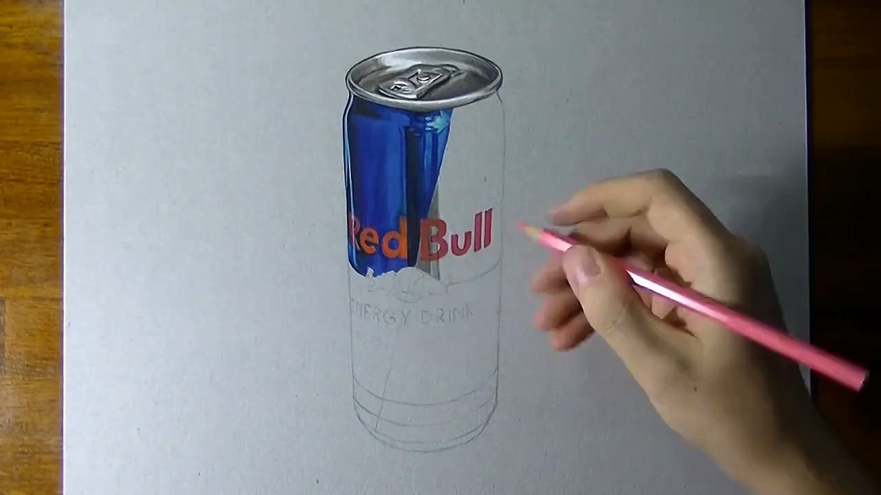 Drawn 3d art red bull Can Crazy timelapse Video Dailymotion