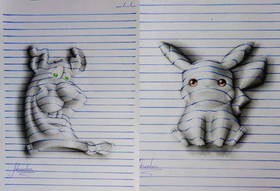 Drawn 3d art ripped paper Art Notepad Carvalho's João 3D