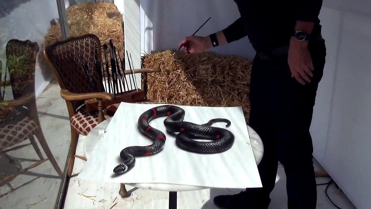 Drawn 3d art snake Optical Snake 3D Illusion 3D