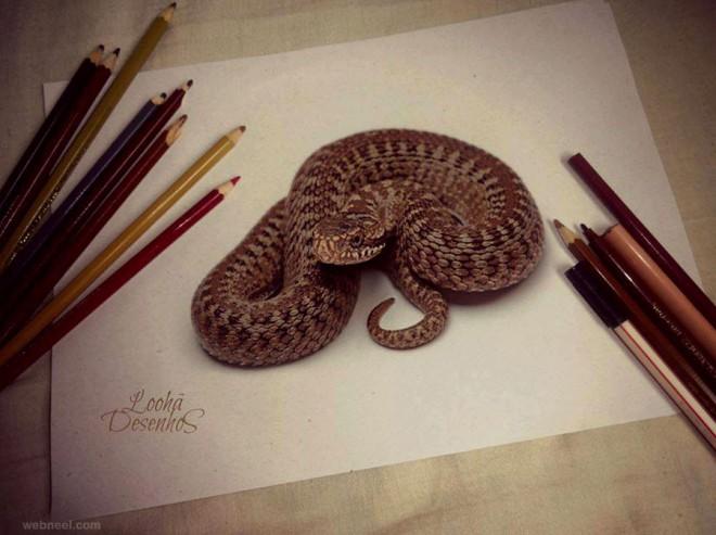 Drawn 3d art snake Works 3D Drawings  Beautiful