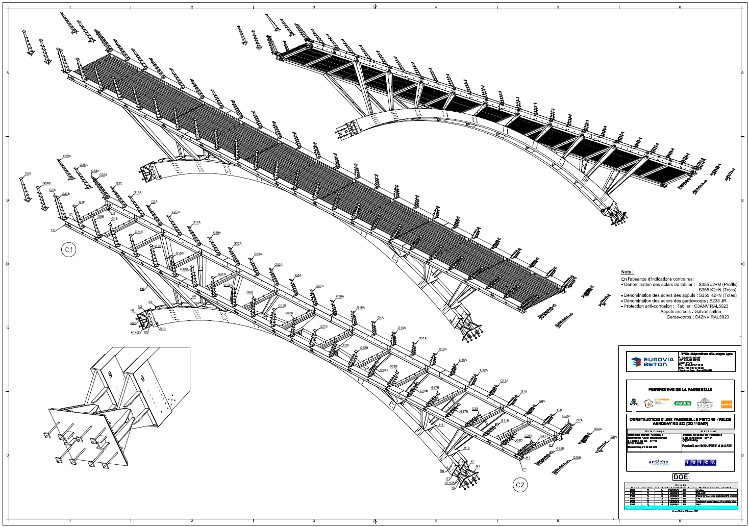 Drawn stairs bridge Model Steel Isometric (0 3D