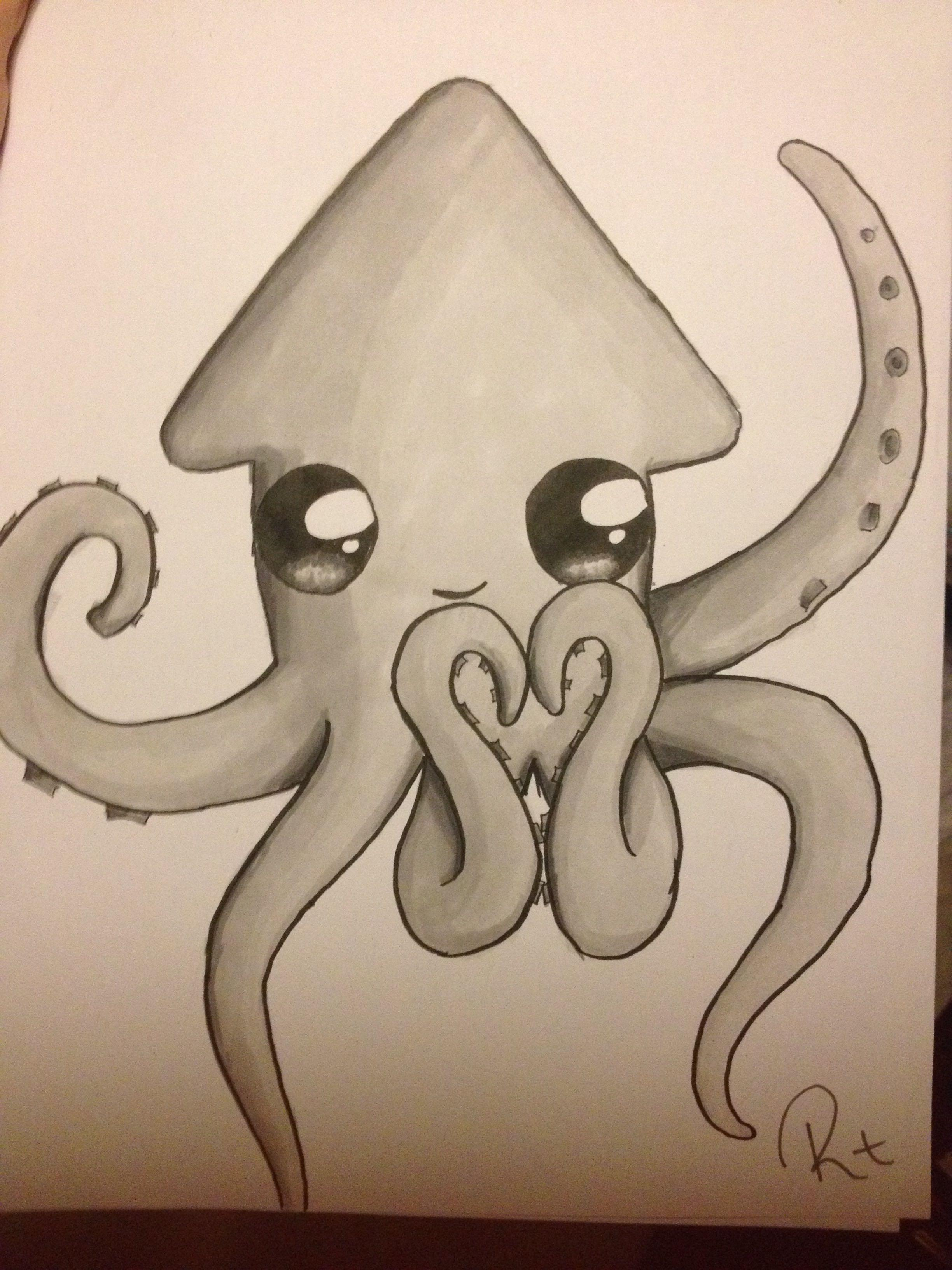 Drawn squid squid monster  My Luv Squiddy Sydney