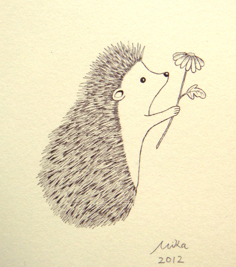 Drawn hedgehog zentangle Wall Woodland Illustration Black Ink
