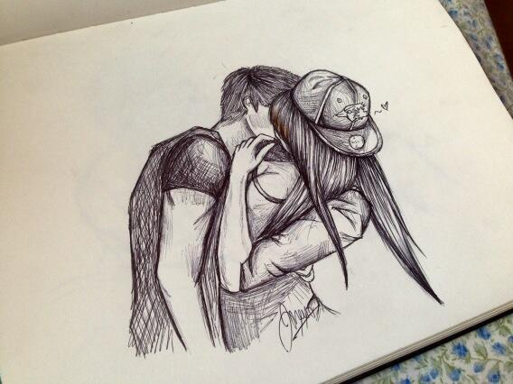 Drawn kiss sensual Google cute drawing couple Search