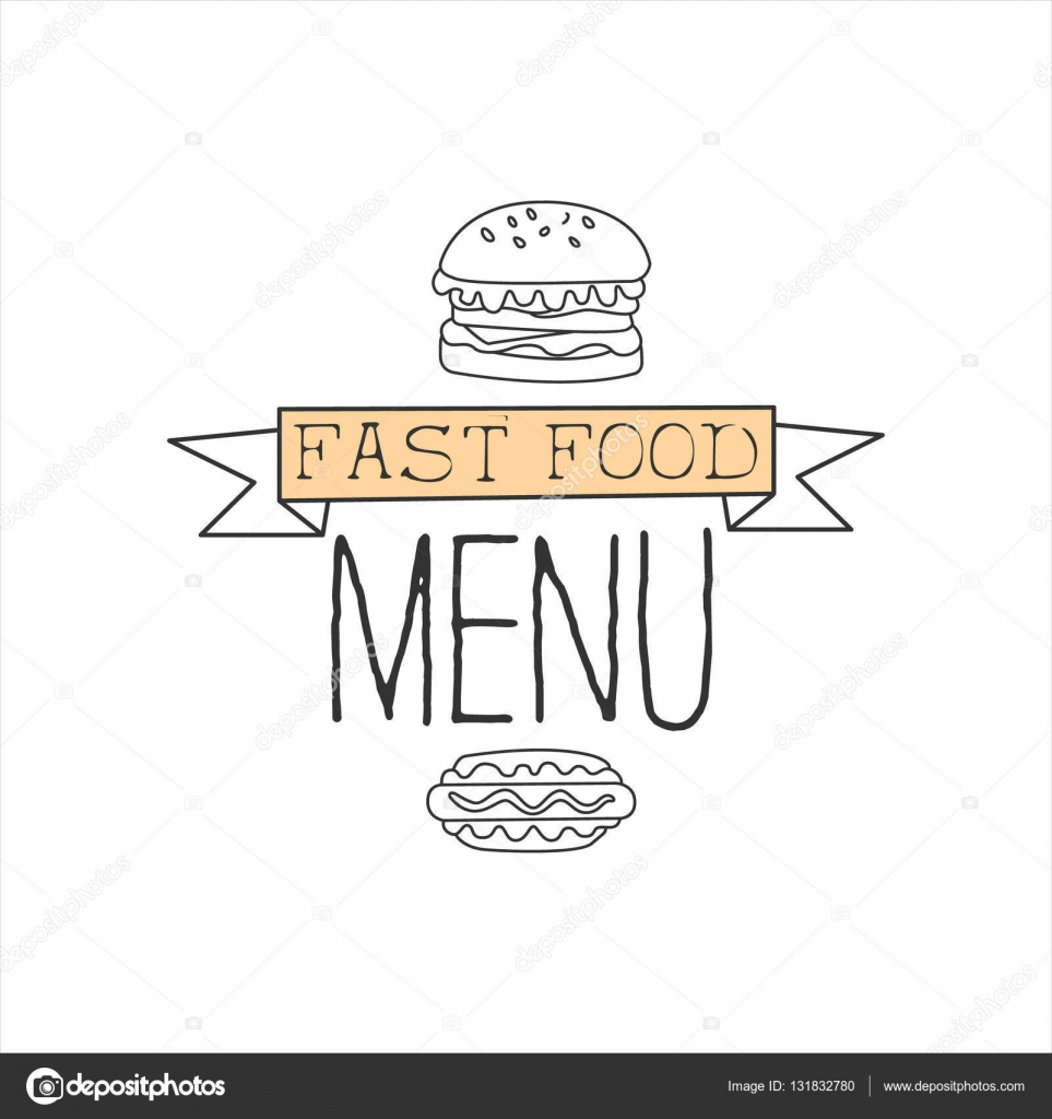 Drawn advertisement hot Street Sign Food Vector Drawn