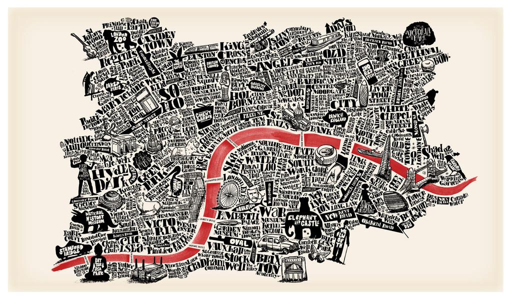 Drawn advertisement illustrative  map london 11 joao