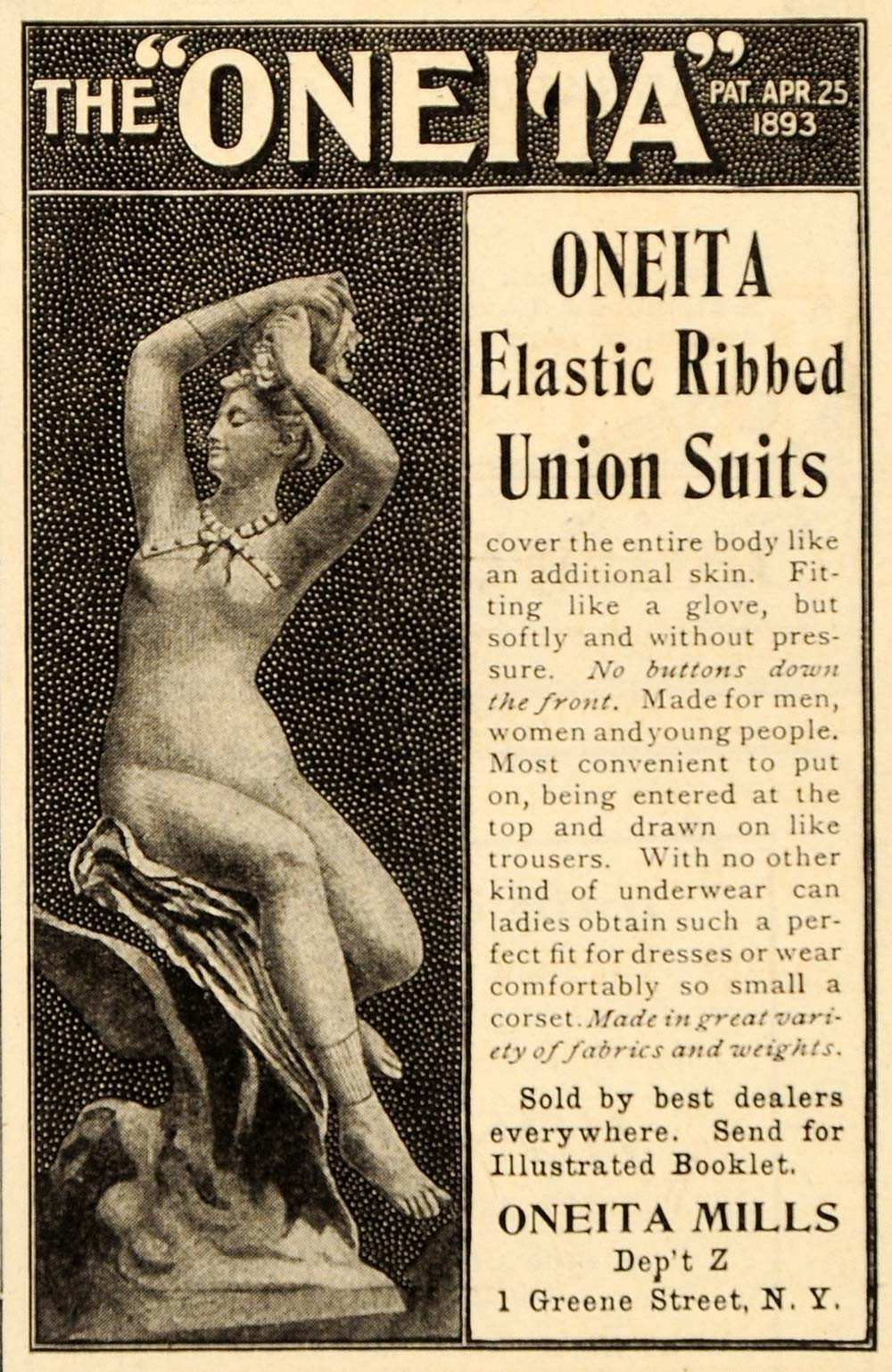 Drawn advertisement men and woman  Advertising Suit Underwear Dept