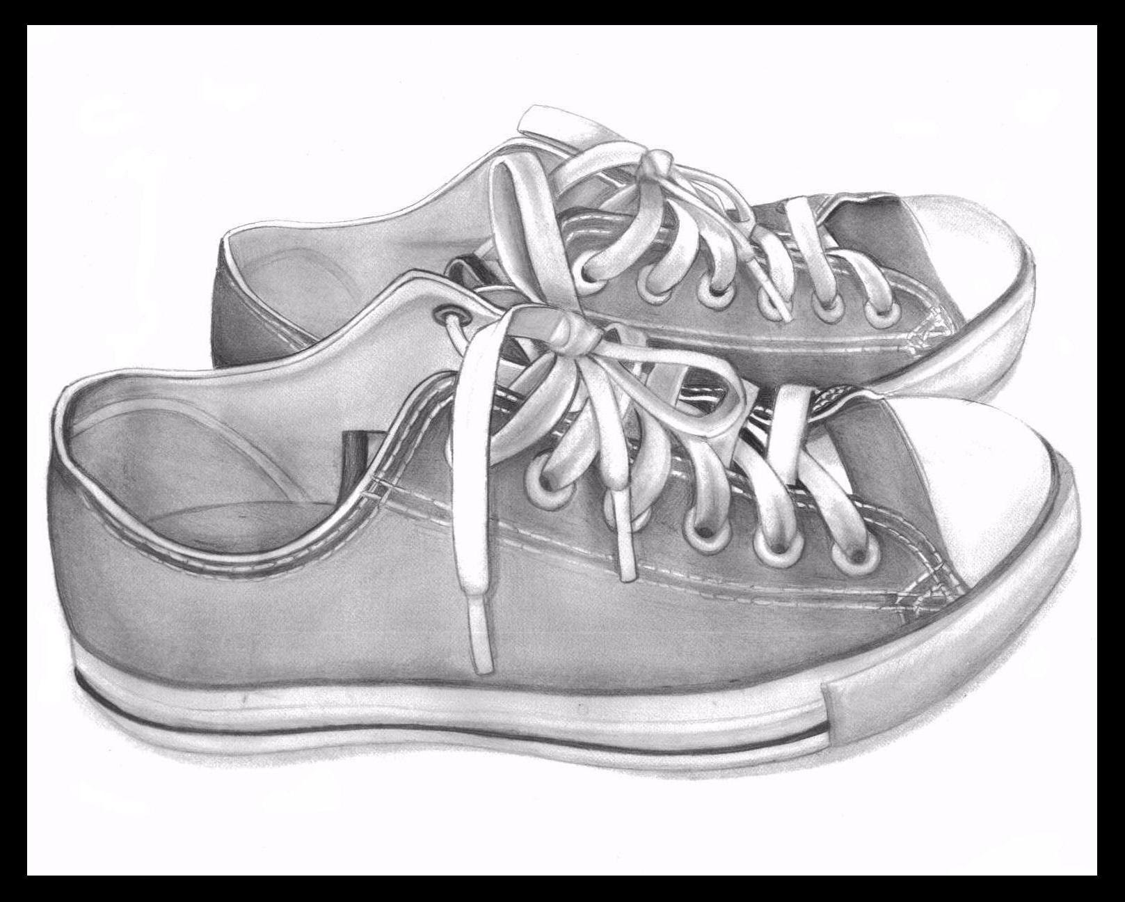 Drawn shoe background Shoes With Pencil  3d