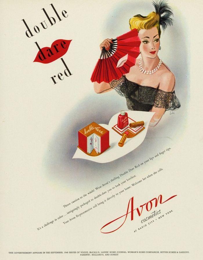 Drawn advertisement vintage style Red lipstick about AVON on