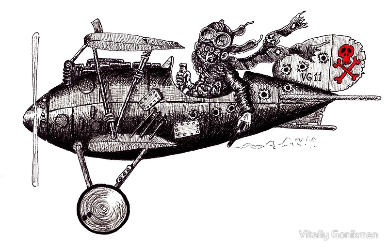 Drawn aircraft airplane pilot Vintage white crazy Vitaliy drawing