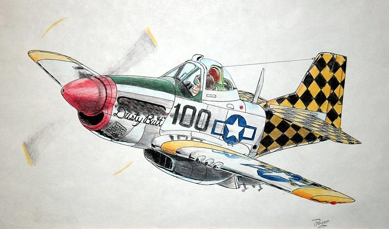 Drawn aircraft mustang #6