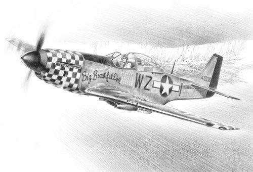 Drawn aircraft mustang #4