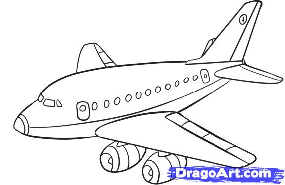 Drawn airplane black and white Plane Transportation to Step Draw