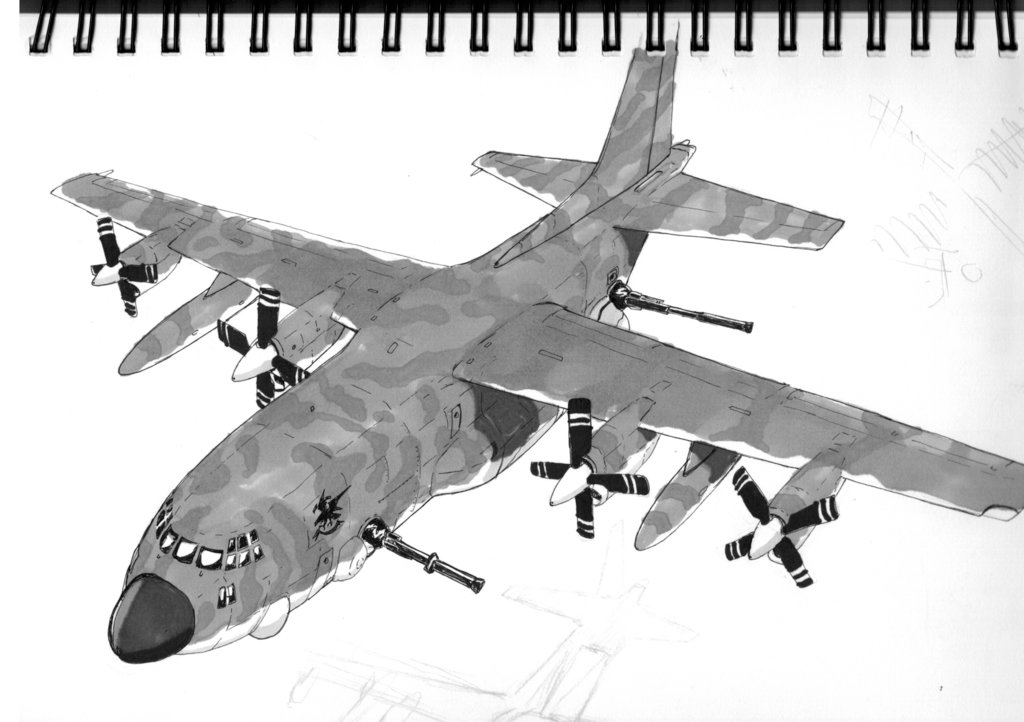Drawn airplane ac 130 SKETCH 130 by on by