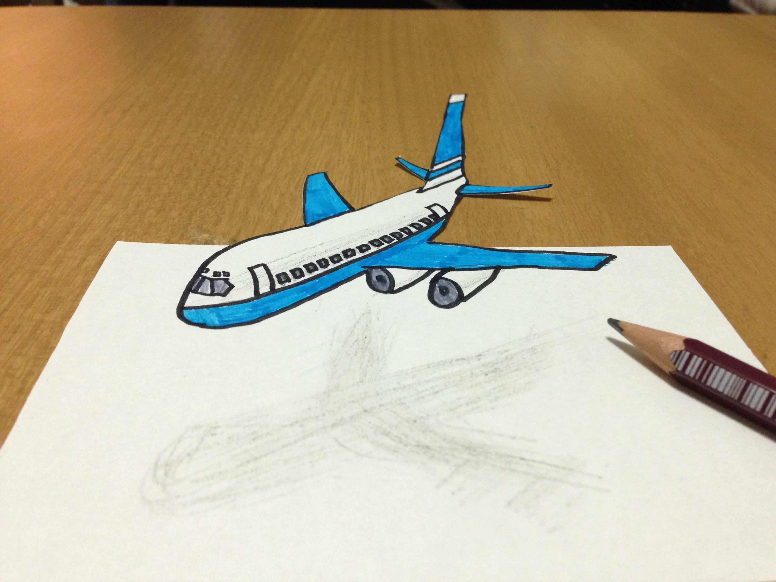 Drawn airplane airplane flying 3D Flying draw Anamorphic Art