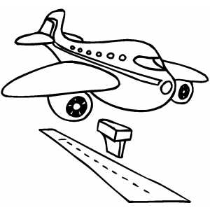 Drawn aircraft airplane landing #4