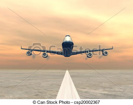 Drawn aircraft airplane landing #3