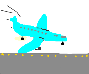 Drawn aircraft airplane landing #7