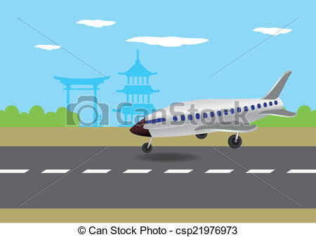 Drawn aircraft airplane landing #1