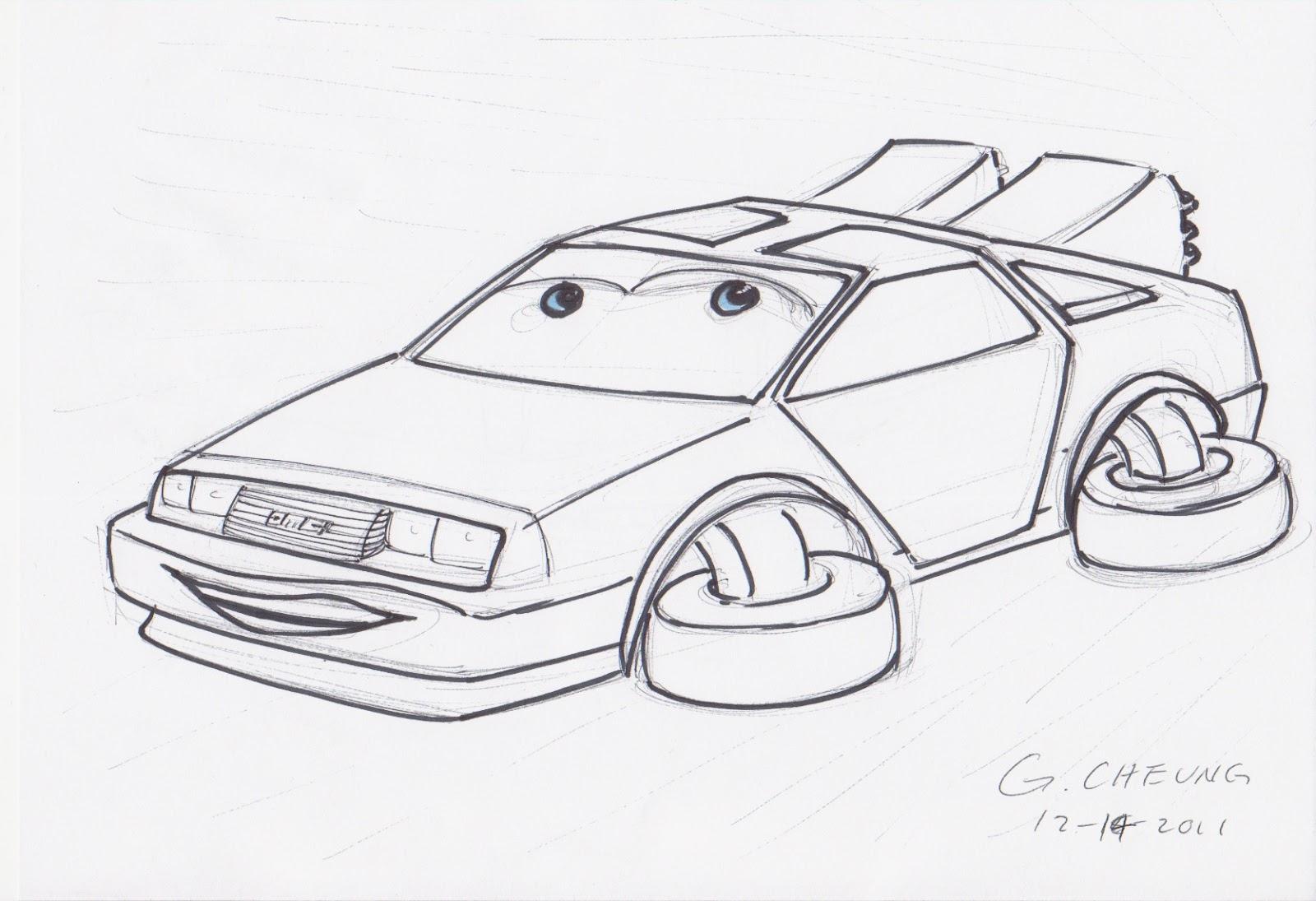 Drawn airplane car #14