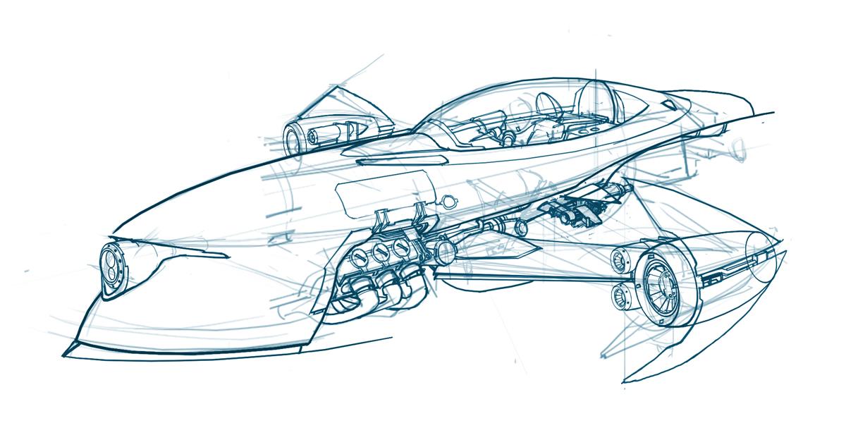 Drawn airplane car #9