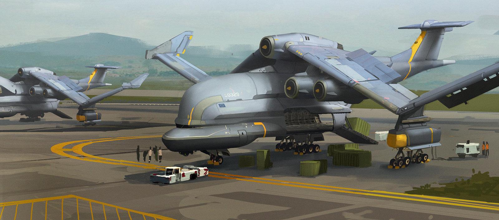 Drawn airplane cargo plane #2