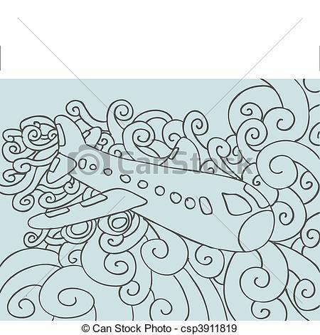 Drawn airplane doodle #2