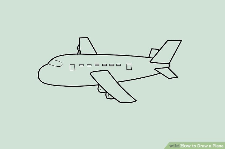 Drawn aircraft easy A Airplane Step Draw wikiHow