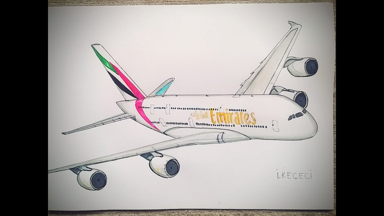 Drawn aircraft emirates A380 A380Planes A380 timelapse) Emirates