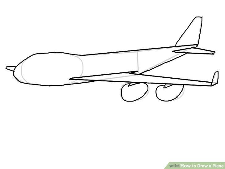 Drawn airplane line drawing Draw a 7 wikiHow Step